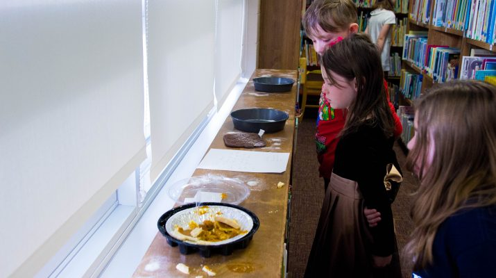 "Students at Milford Elementary visit the ""crime scene"" where the pumpkin pie was eaten!"